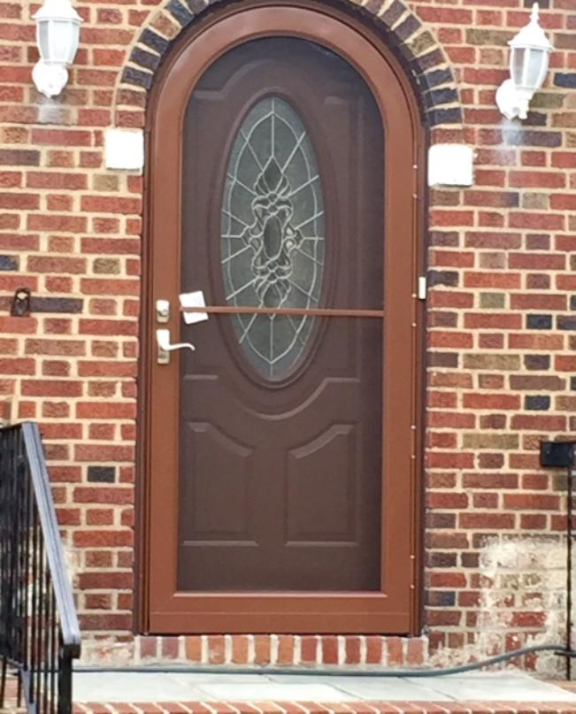 Beau New Style Security Storm Door With Glass For Winter And Screen For Summer,  Mail Slot On Bottom. Middle Village, NY.