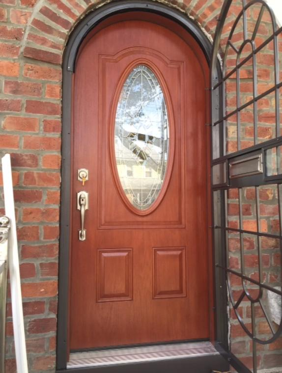 Arch top aluminum storm door with tempered glasss and optional scrren.. Address and mail box. St. Albans NY. 9/24/15 & arch top doors archtop doors round top doors special shape ...